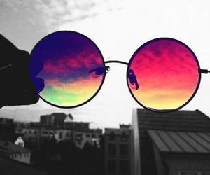 glasses, sky, and sunglasses image