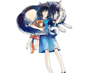anime, wolf children, and cute image