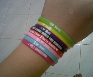 colourful, wristband, and one direction image