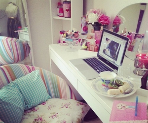 bedroom, pink, and cute image