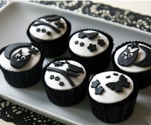 cupcakes, food, and black image
