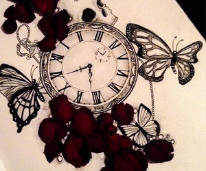 butterflies, drawing, and rose image