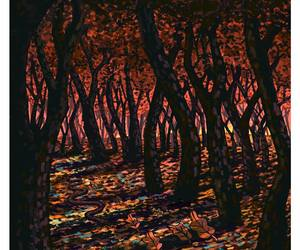 autumn, dark, and forest image