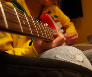 guitar, left, and yellow image
