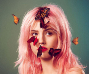 butterfly, girl, and pink image