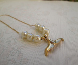 mermaid, pearl, and pearl necklace image