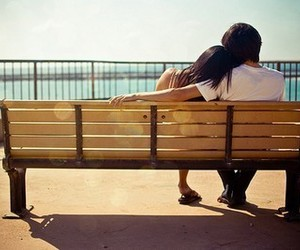 bench, couple, and love image