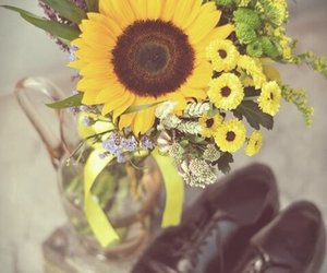 case, shoes, and sunflower image