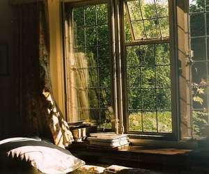 window, room, and book image