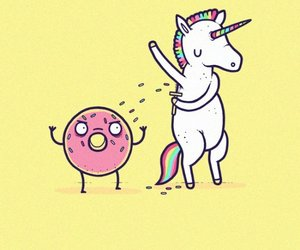 unicorn, donuts, and funny image
