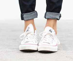 feets, jeans, and sneakers image