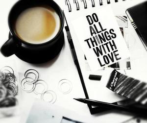 love, coffee, and quote image