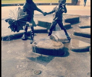 boy, fontaine, and girl image