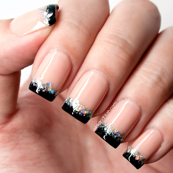 Nude with black tips holographic glitter nail art design nude with black tips holographic glitter nail art design tutorialquick nails prinsesfo Images