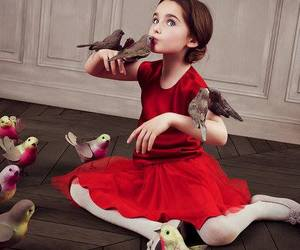 girl, bird, and red image