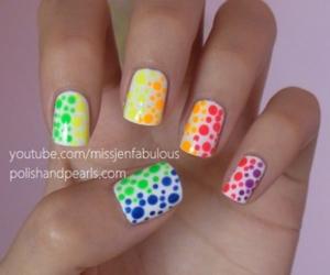 nails, neon, and polka dots image