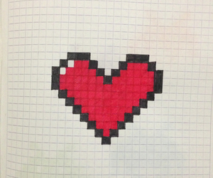 heart, pixel, and red image