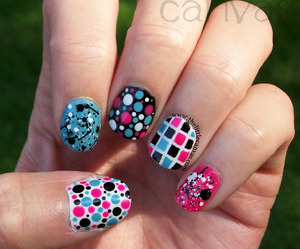 dots, nails, and pink image