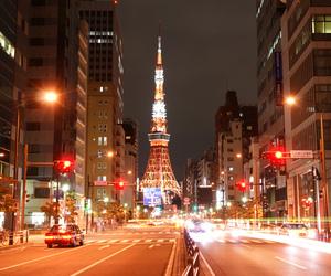 city, tokyo, and tokyo tower image