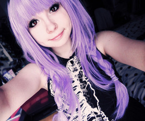 hair, purple, and pastel goth image