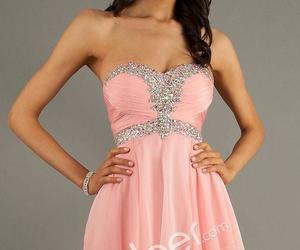 cocktail dress, pink dress, and strapless dress image