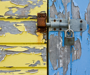 blue, metal, and beach hut image