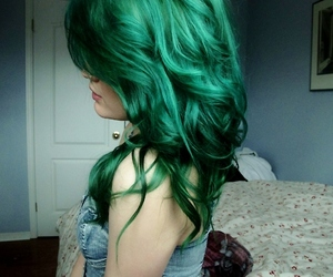 colored hair, hair color, and greenhair image