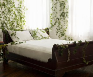 bed, bedroom, and vines image