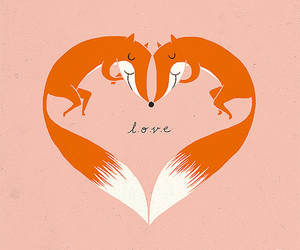 love, fox, and heart image
