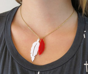 white feather, statement necklace, and cool jewelry image