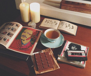 book, tea, and candle image