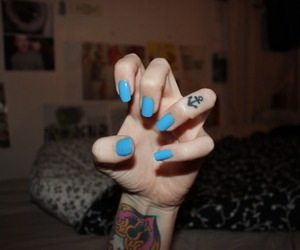 tattoo, nails, and blue image