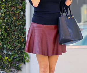 bag, booties, and leather skirt image