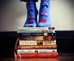 books, reading, and socks image