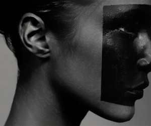 art, black and white, and model image