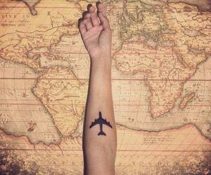 airplane, tattoo, and arm image