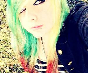 cute girl, dyed hair, and scene kid image