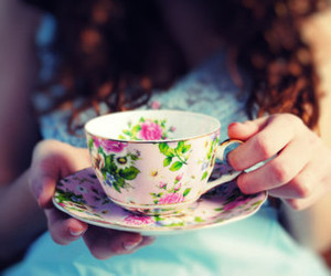 girl, tea, and cup image