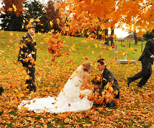 bride, fall, and marriage image