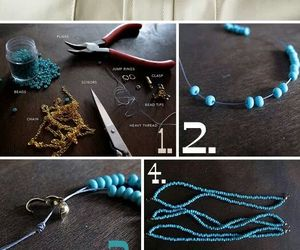 diy, necklace, and blue image