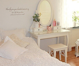 room, bed, and flowers image