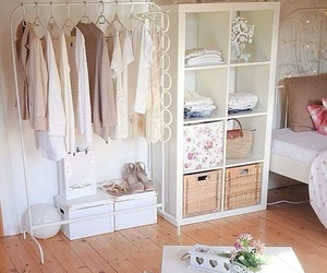 room, bedroom, and clothes image