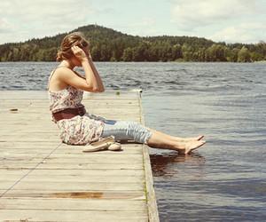 girl, lake, and summer image