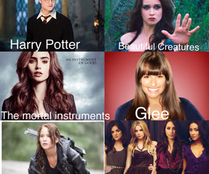 glee, the hunger games, and the mortal instruments image