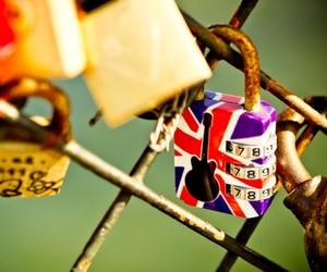 bridge, british flag, and lock image