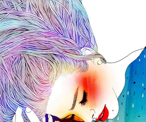 art, colored hair, and illustration image