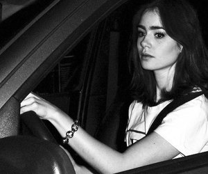 beautiful, black and white, and lily collins image