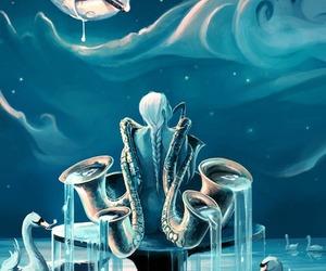 art, music, and moon image