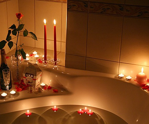 romantic, candle, and bath image