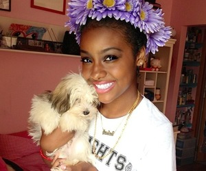 dog, flowers, and blackgirl image